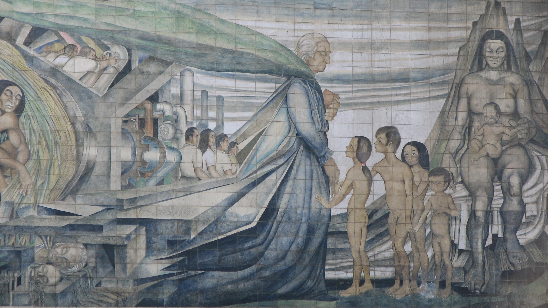 Mural en cerámina de Fernando Daza, ubicado en las faldas del costado sur del Cerro Santa Lucía, 1971.Creative Commons Attribution 2.0 Generic license: http://creativecommons.org/licenses/by-sa/2.0/